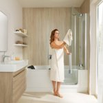 TWINLINE 2 with divided door, shower screen opened outward | © Artweger GmbH. & Co. KG