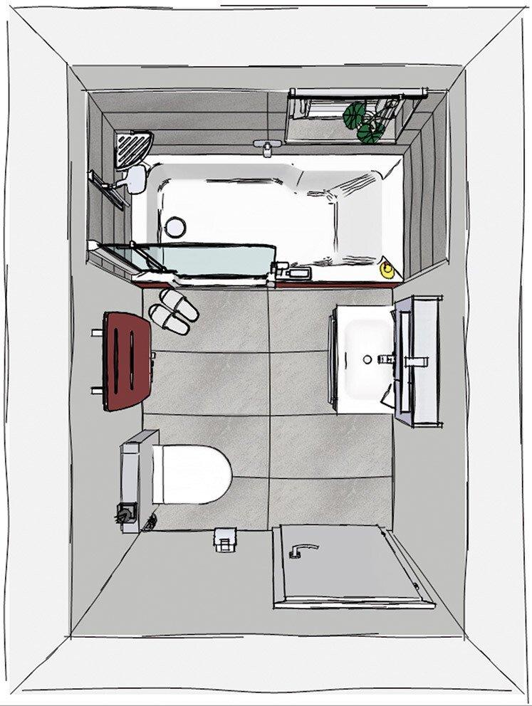 Grundriss Kleines Bad Mit TWINLINE Duschbadewanne, WC Und Waschbecken | ©  Artweger GmbH. U0026