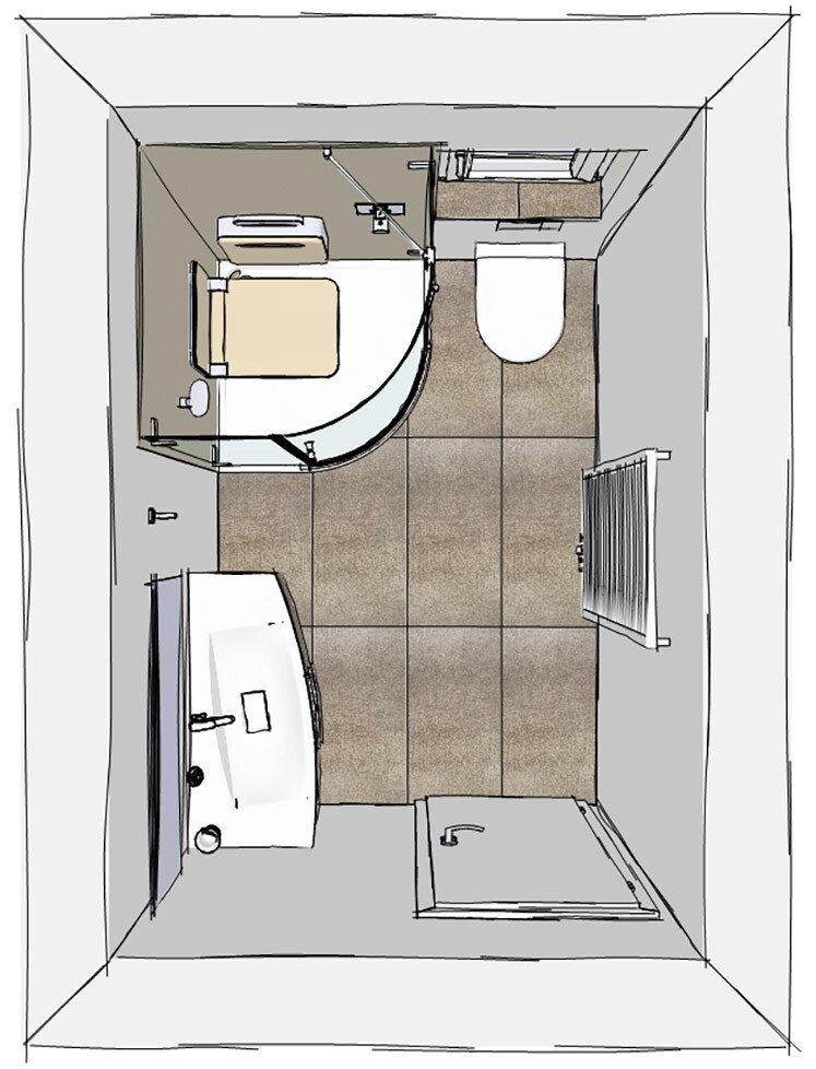 Grundriss Kleines Bad Mit Dampfdusche BODY+SOUL, WC Und Waschtisch | ©  Artweger GmbH