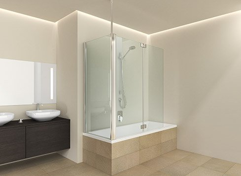 Tub folding screen with side wall