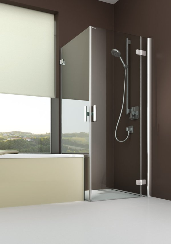 ARTWEGER 360 Swinging door on an anchored part with swinging side wall, not flush to bathtub, handle vertical | © Artweger GmbH. & Co. KG