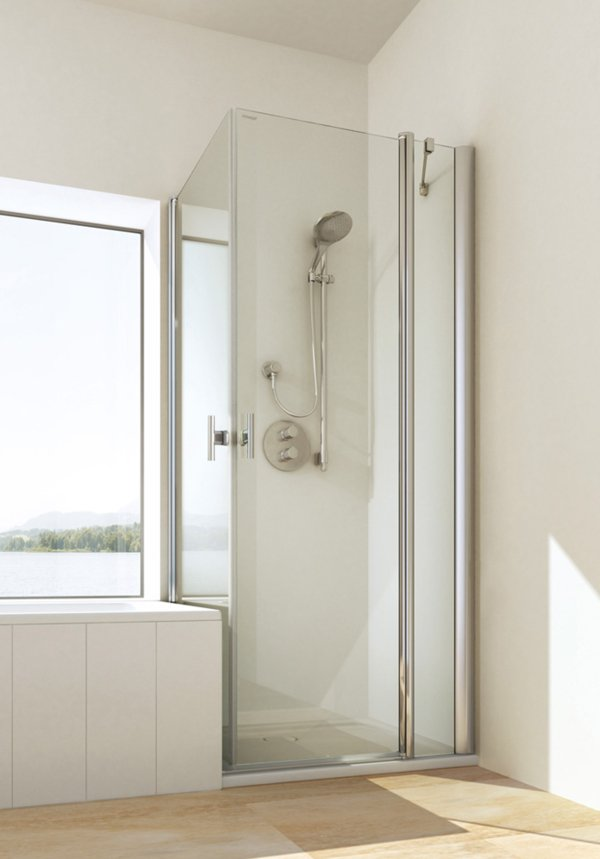 TWISTLINE Swinging door on fixed part with swiveling side wall flush to bathtub, genuine clear glass, profiles high gloss metal, handles chrome | © Artweger GmbH. & Co. KG