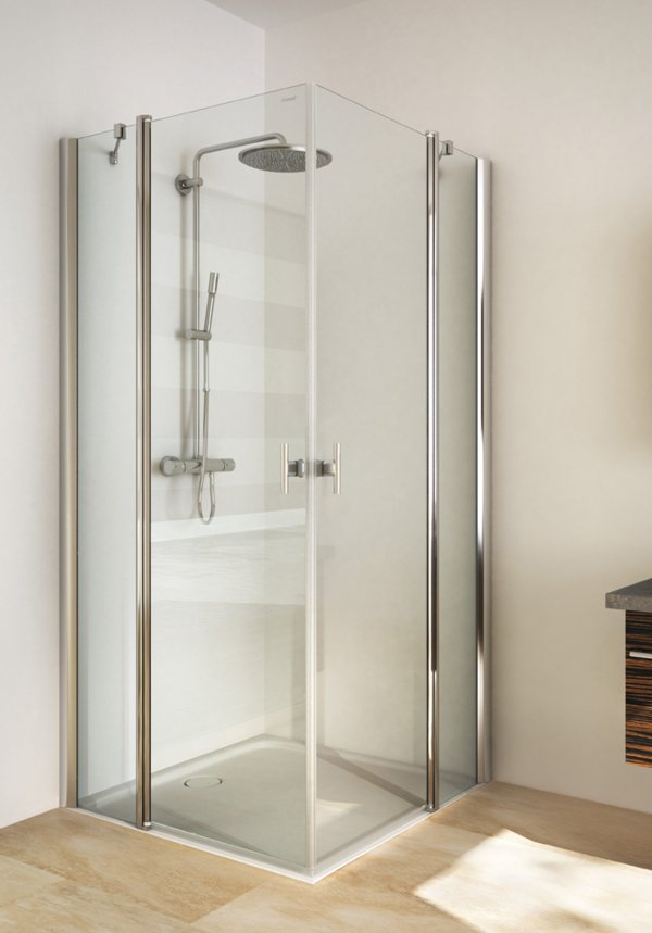 TWISTLINE Corner access with 2 swinging doors and 2 fixed parts, genuine clear glass, profiles high gloss metal, handles chrome | © Artweger GmbH. & Co. KG