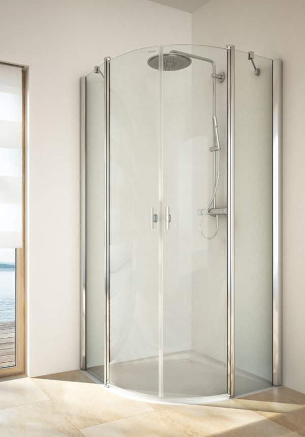 TWISTLINE Round shower with 2 swinging doors and 2 fixed parts, genuine clear glass, profiles high gloss metal, handles chrome | © Artweger GmbH. & Co. KG