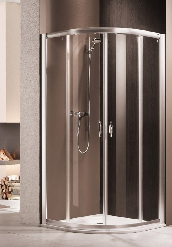 LIFELINE 1/4-round shower with sliding doors, frame colour high-gloss silver, genuine glass clear, handles chrome-plated | © Artweger GmbH. & Co. KG