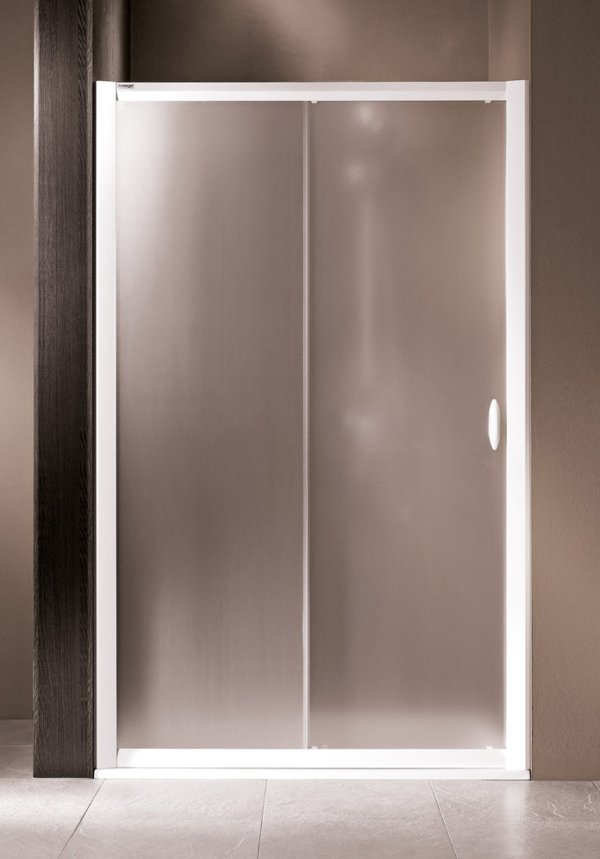 LIFELINE Double sliding door in alcove, frame colour white, genuine glass satin, handles white | © Artweger GmbH. & Co. KG