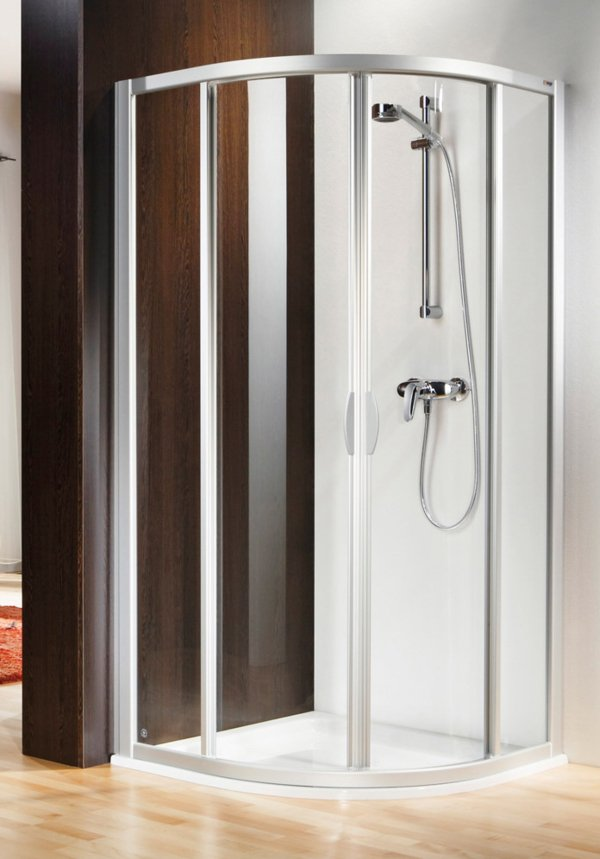 BASELINE 1/4-round shower with 2 sliding doors, frame colour natural anodised, genuine glass clear | © Artweger GmbH. & Co. KG