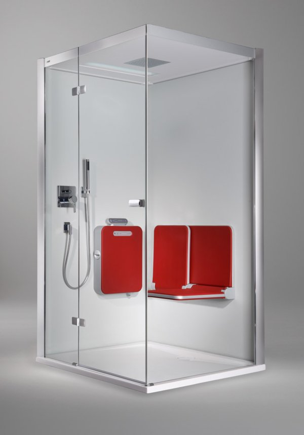 BODY+SOUL Steam shower, winged door with side screen, partially framed, with bench, audio, coloured light, overhead showerhead.  | © Artweger GmbH. & Co. KG