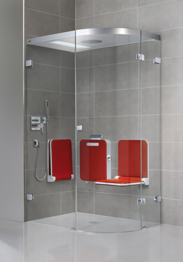 BODY+SOUL Steam shower, 1/4-round shower, frameless, 120x90cm, 2 individual seats, audio, coloured light, overhead showerhead. | © Artweger GmbH. & Co. KG